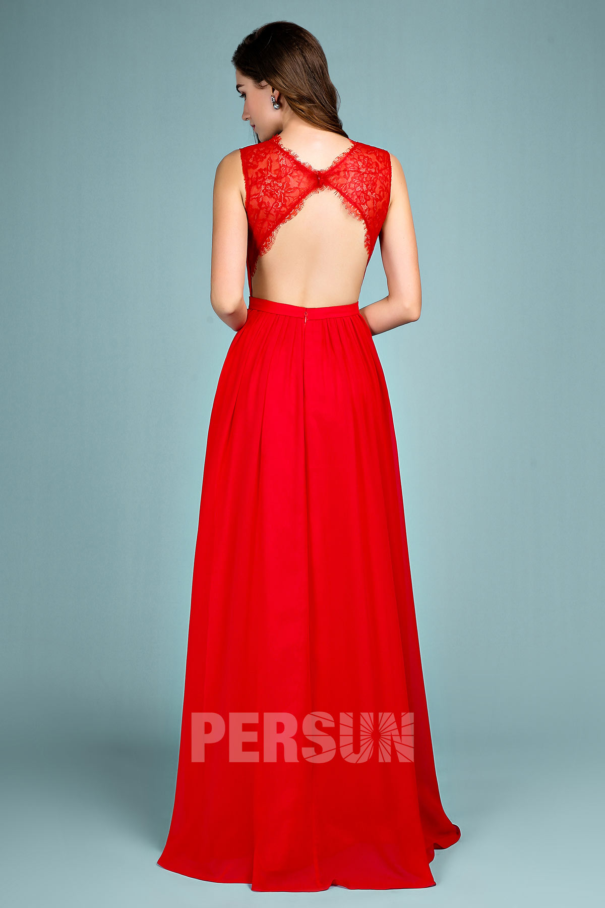 robe de soirée rouge longue dos découpé