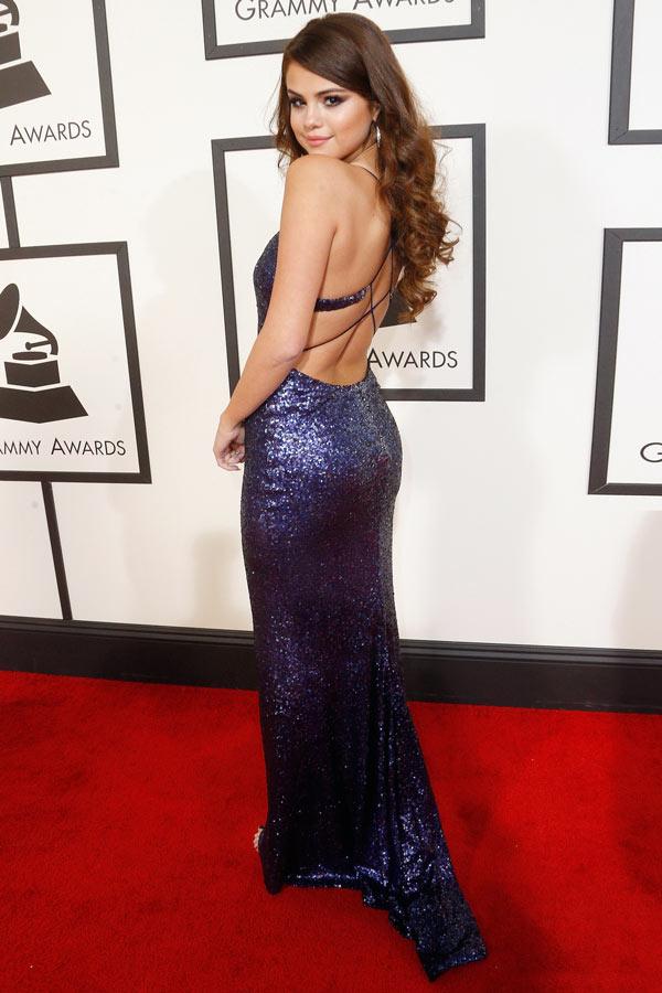 robe de soirée sexy longue en sequin Selena Gomez