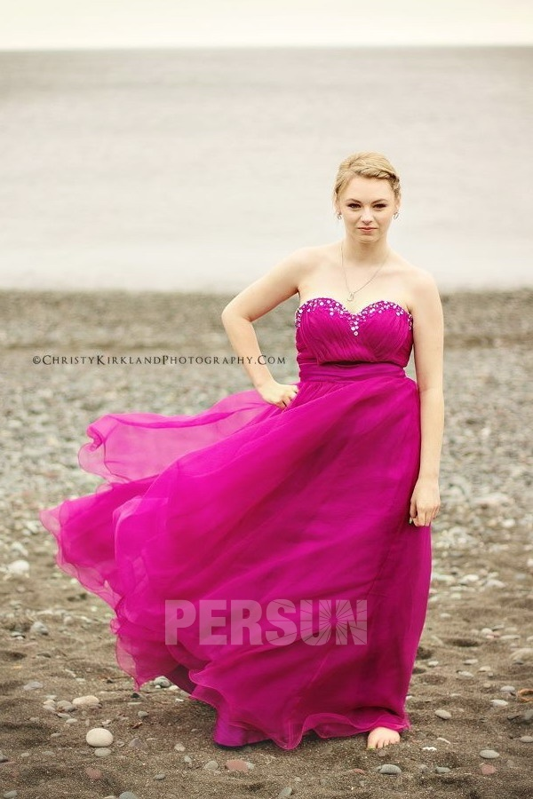 robe de soirée fuchsia princesse b ustier coeur