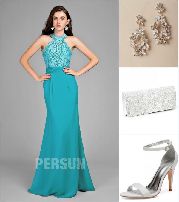 robe de soriée verte sirène et accessoires
