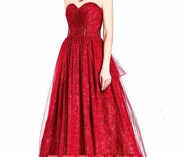 robe de soirée rouge longue bustier coeur drapé taille ornée de strass