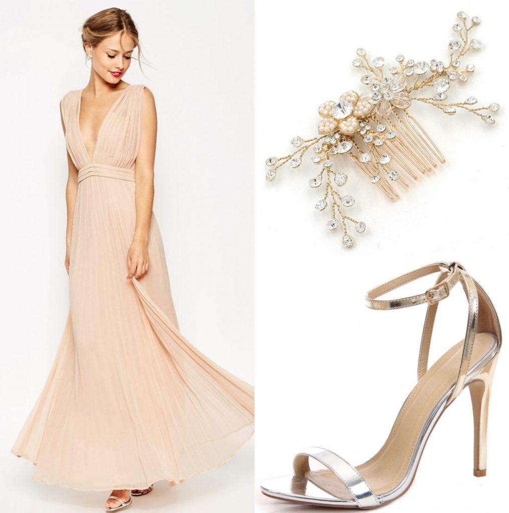robe de soirée longue sexy col et dos décolleté en v plongeant nude plisée avec sandales et coiffe