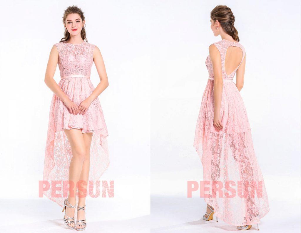 robe de soirée rose courte devant longue derrière en dentelle guipure orné de strass et dos nu