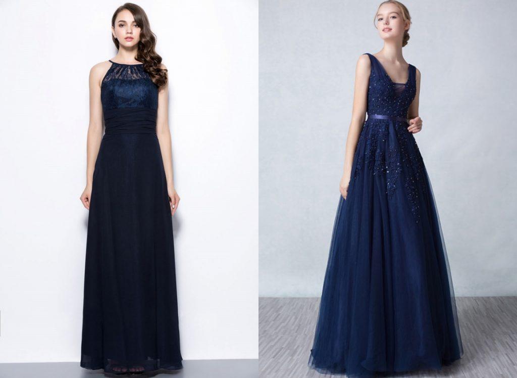 robe de soirée longue bleu marine en dentelle appliquée