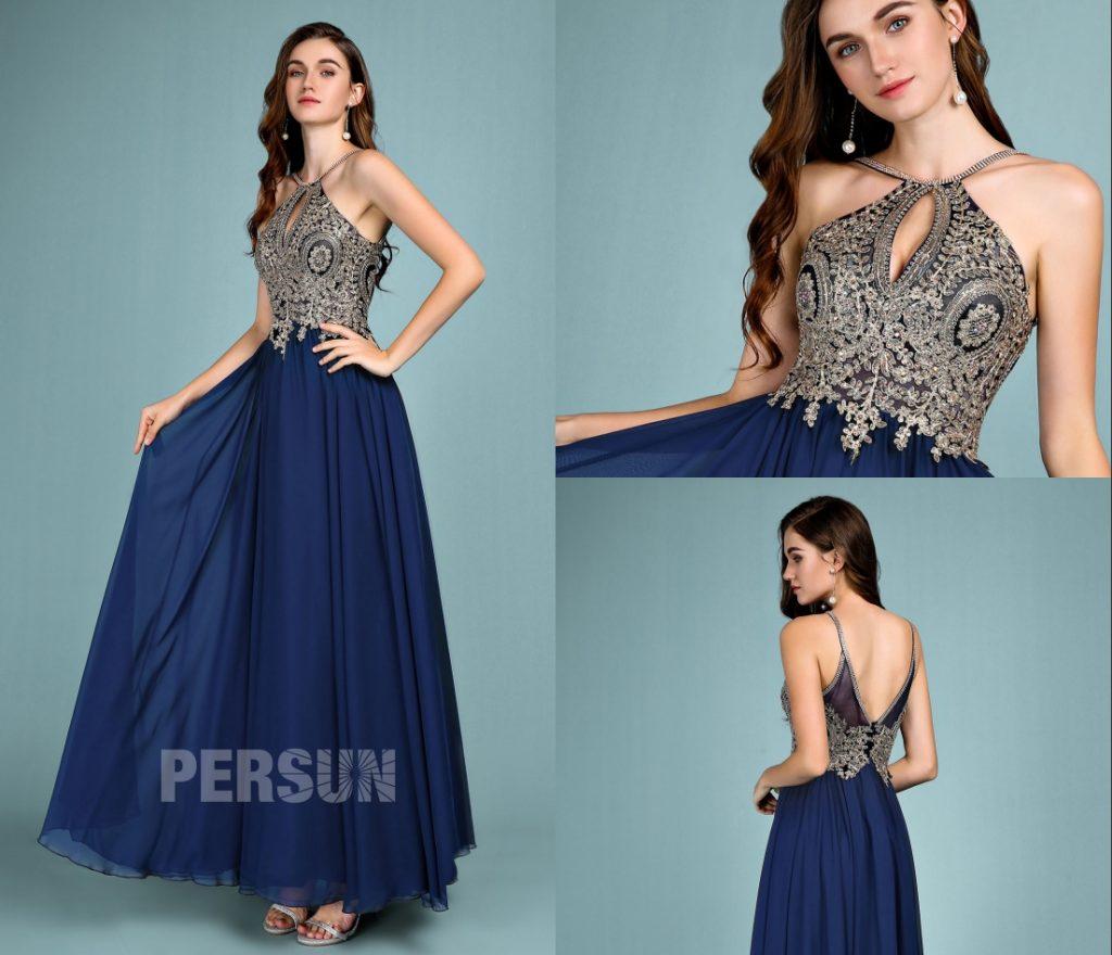 robe de soirée bleu marine longue col halter haut en dentelle dorée appliquée dos décolleté v