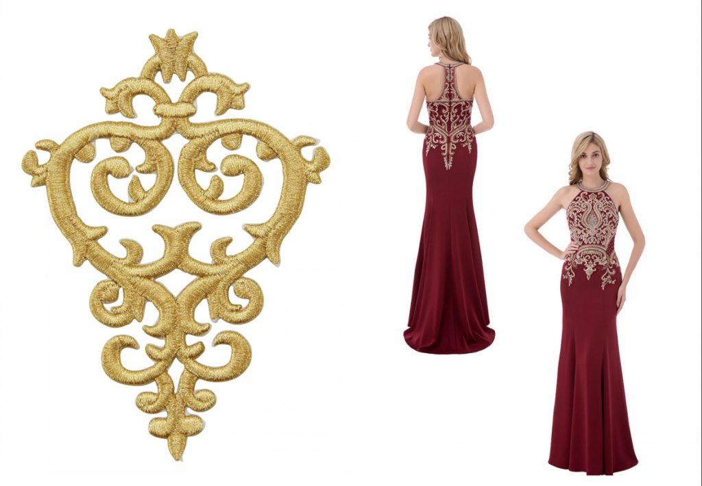 classique robe de soirée longue bordeaux col halter fourreau ornée borderie dorée baroque et de strass