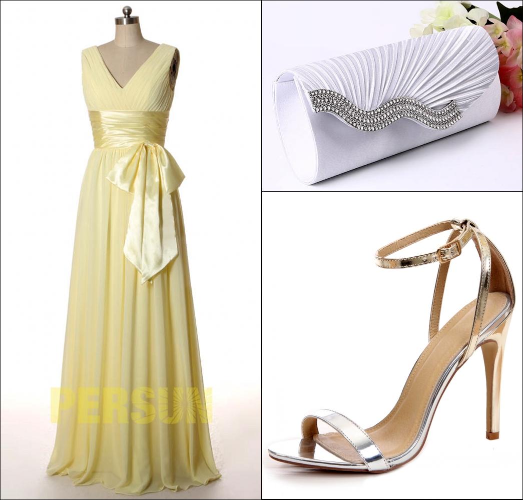 robe de soirée bustier plissé col v ceinturé de noeud de papillon et des accessoires magnifiques
