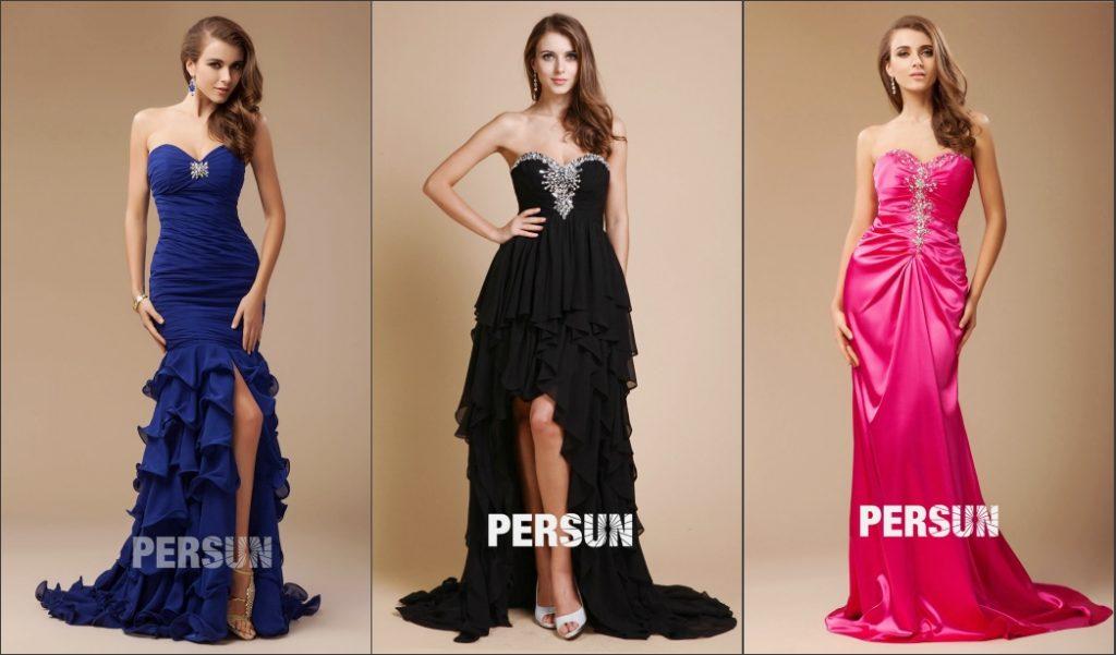 robe de soirée longue bustier coeur ornée de bijoux et jupe en création différente
