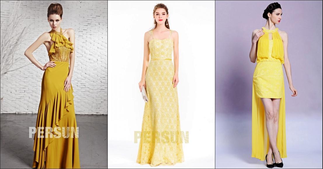 jaune nuancé robe de soirée chic