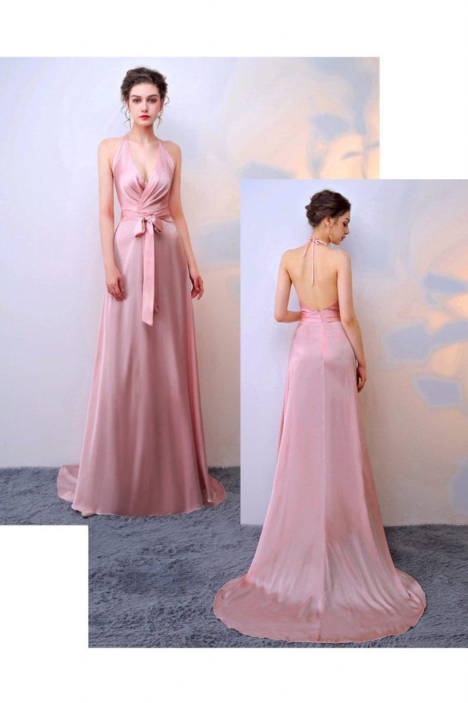 robe de soirée rose longue col halter plongeant dos nu avec ceinture noeud papillon