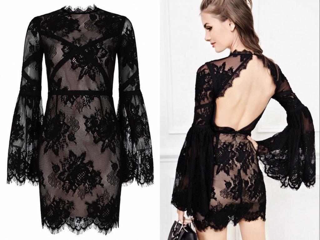 robe de soirée courte noire sexy en dentelle dos nu avec manches courte