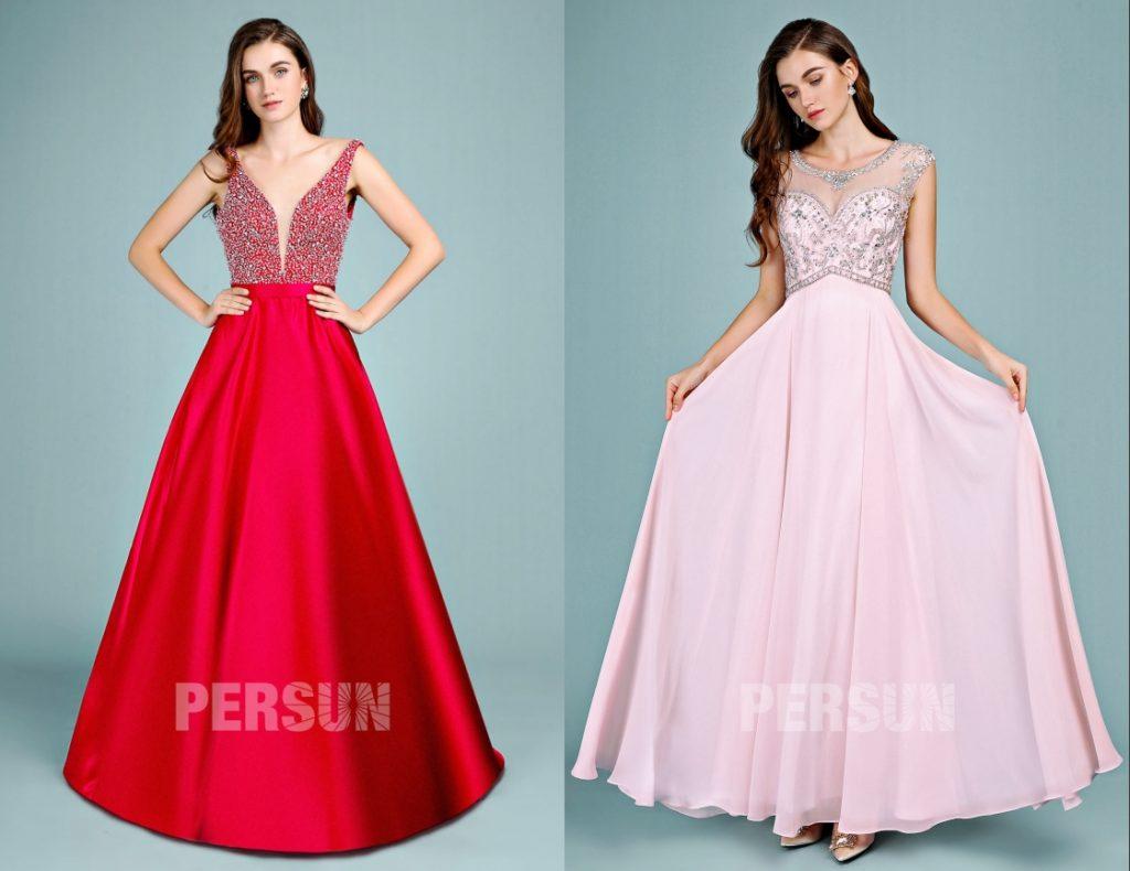 robe de soirée longue élégante embelli de strass