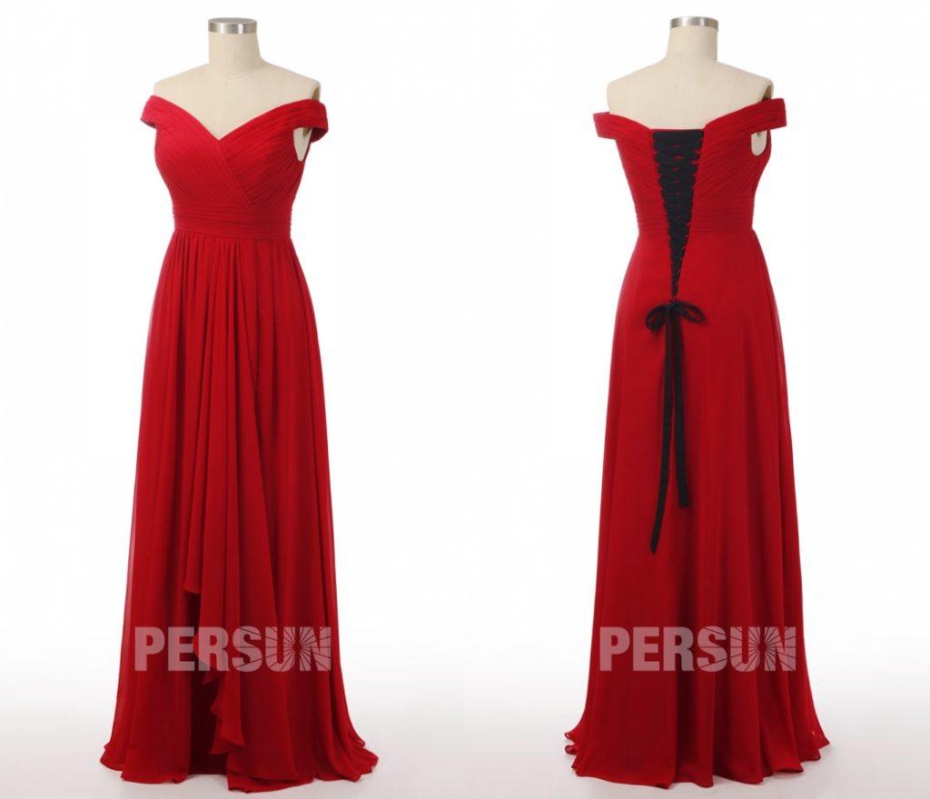 robe de soirée rouge longue épaule dénudé bustier plissé dos avec lacet noir