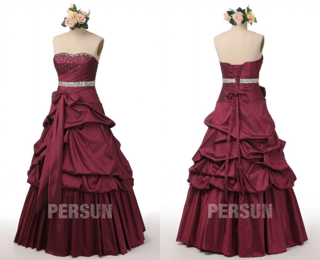 robe de soirée bourgogne longue bustier coeur ornée de strass jupe à brouillonnée