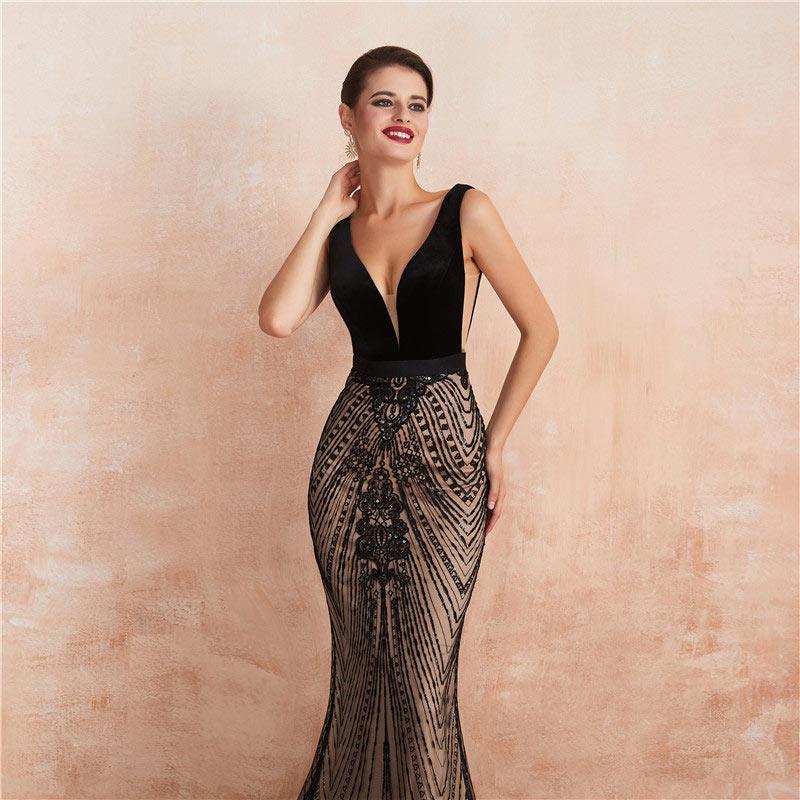 robe de soirée fourreau sexy col v plongeant cote transparent embelli de strass