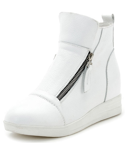 botte basket blanc femme à double zip