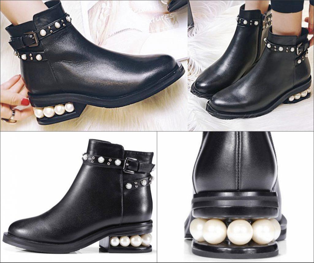 bottine noire à talon plat ornée de perle et de boucle