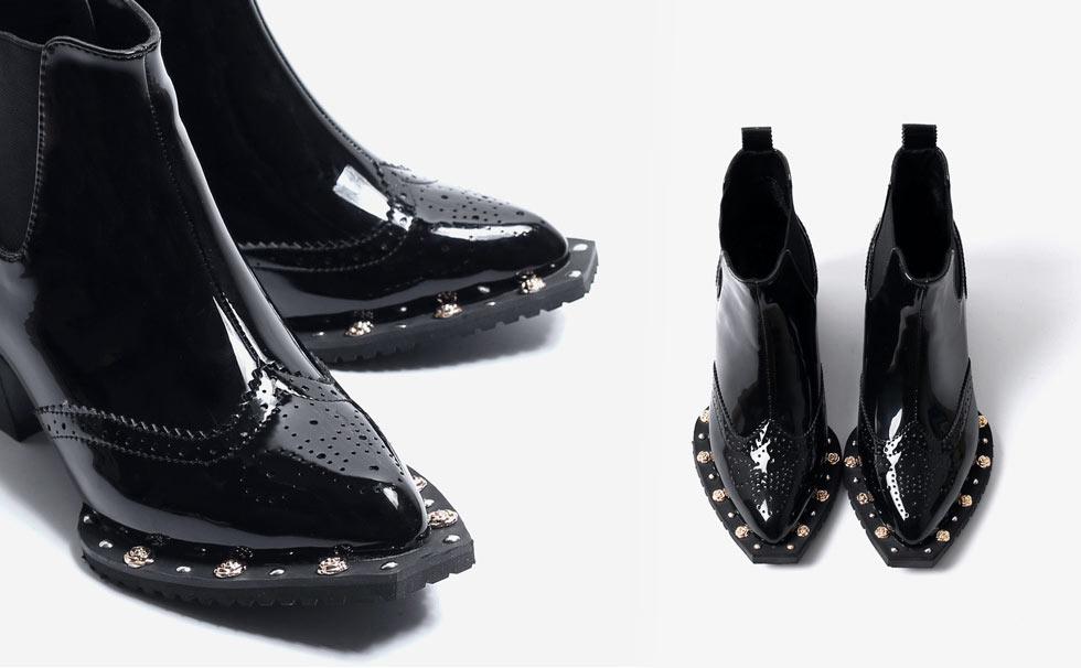 bottine noire chelsea chic embelli de strass