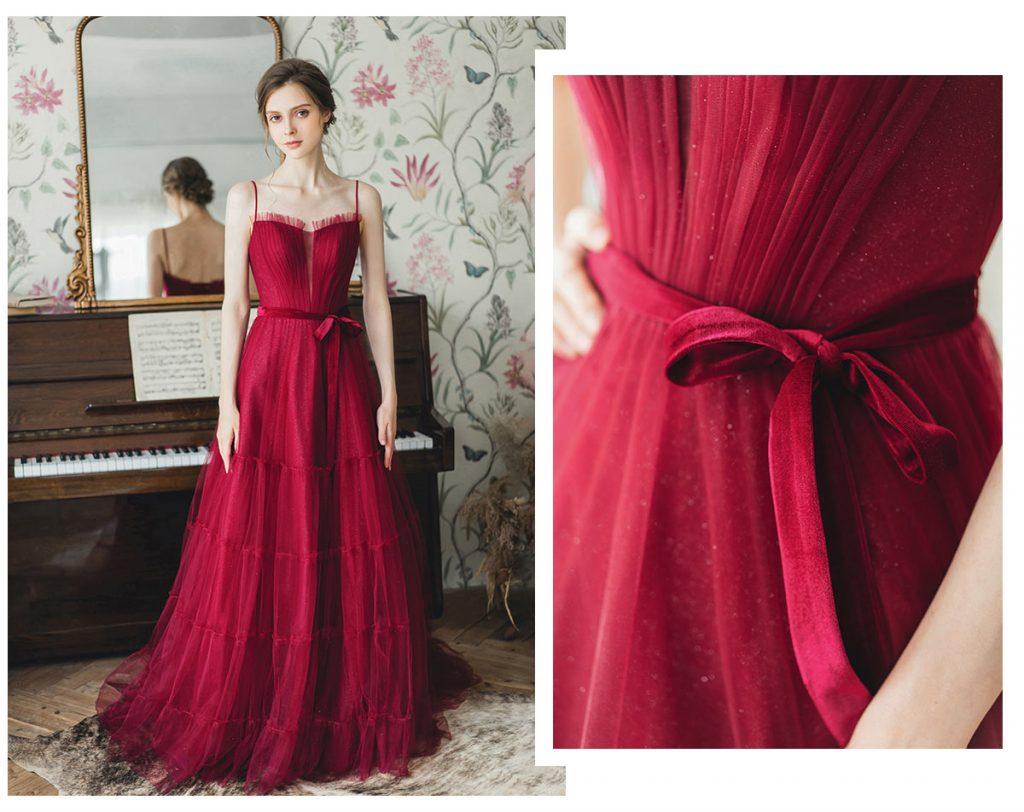 robe de soirée rouge longue doublure en paillette à bretelle fine