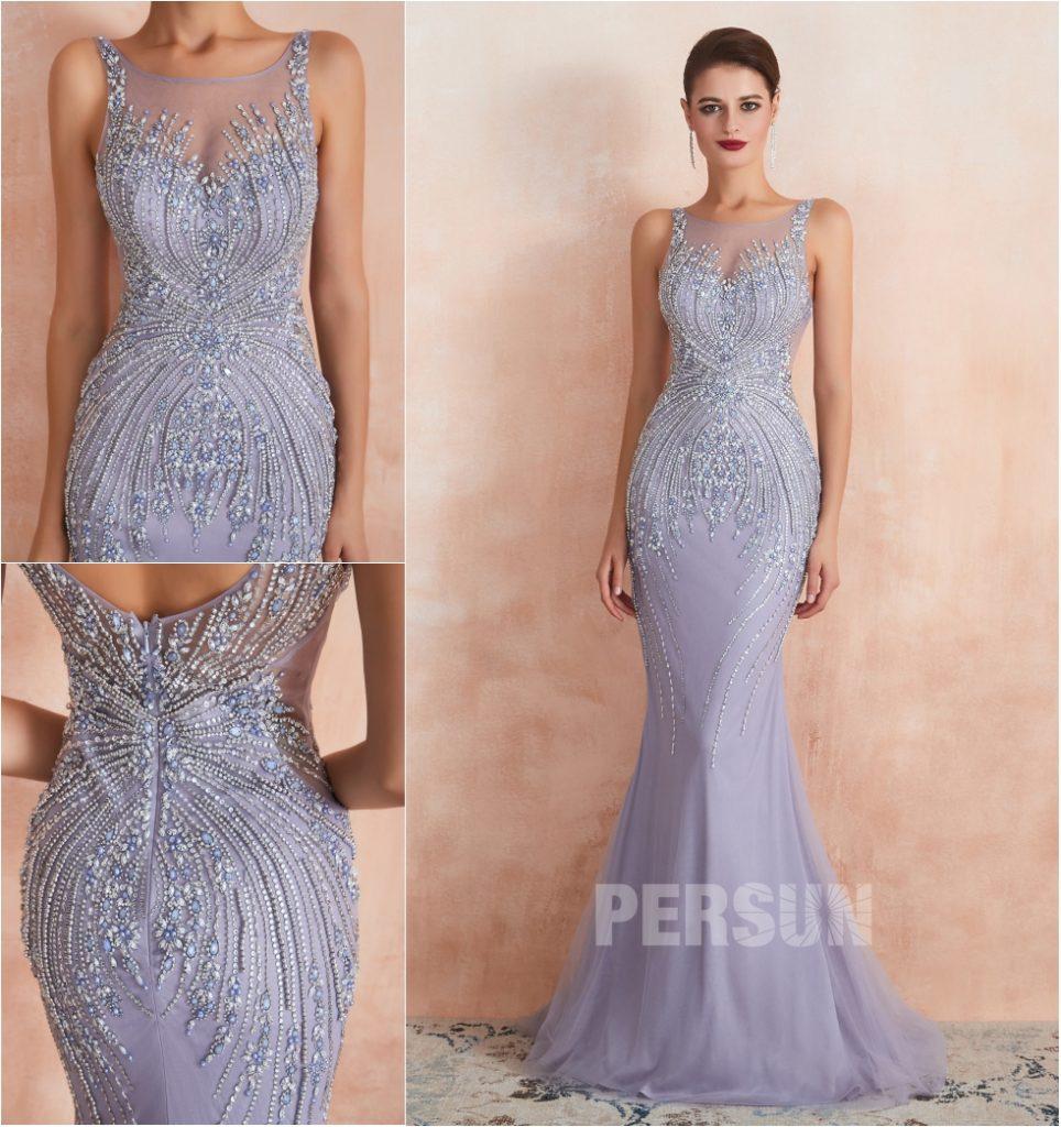 robe de soirée sirène longue lavande clair brodé de bijoux exquis