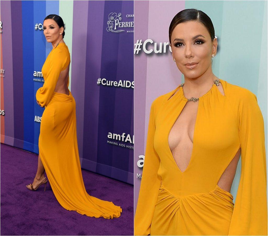 Eva Longoria en robe de soirée sexy jaune