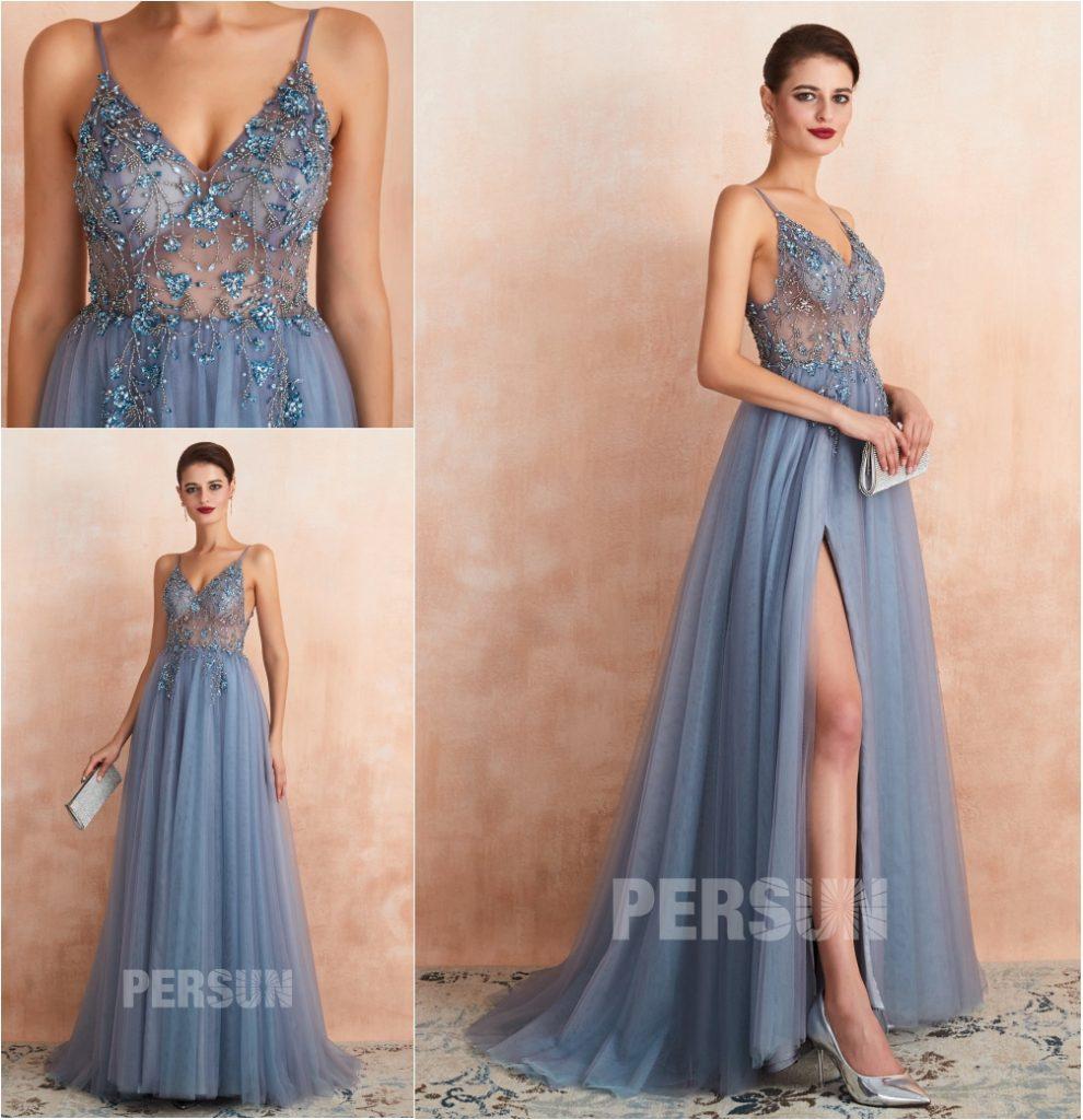 robe de soirée fendue bleu parme haut transparent embelli de bijoux à bretelle fine