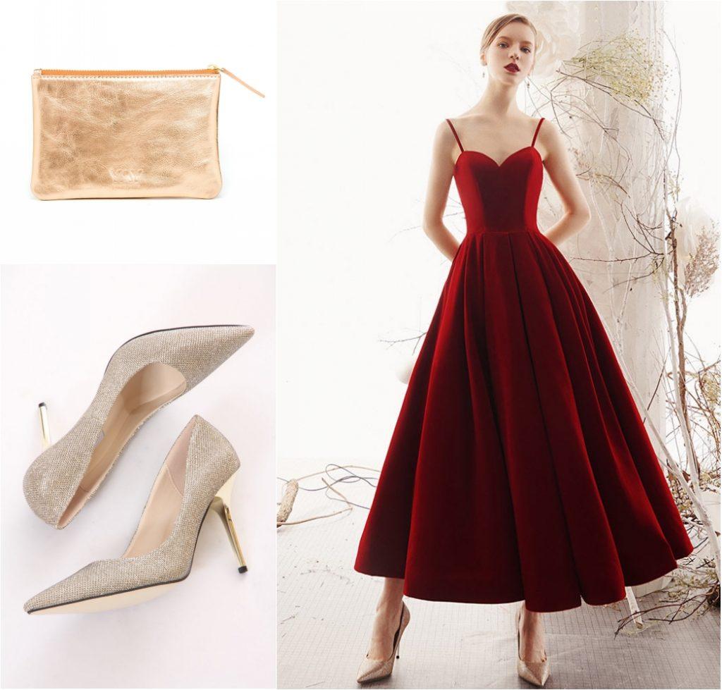 robe de soirée en velours bordeaux longue bustier coeur avec bretelle fine