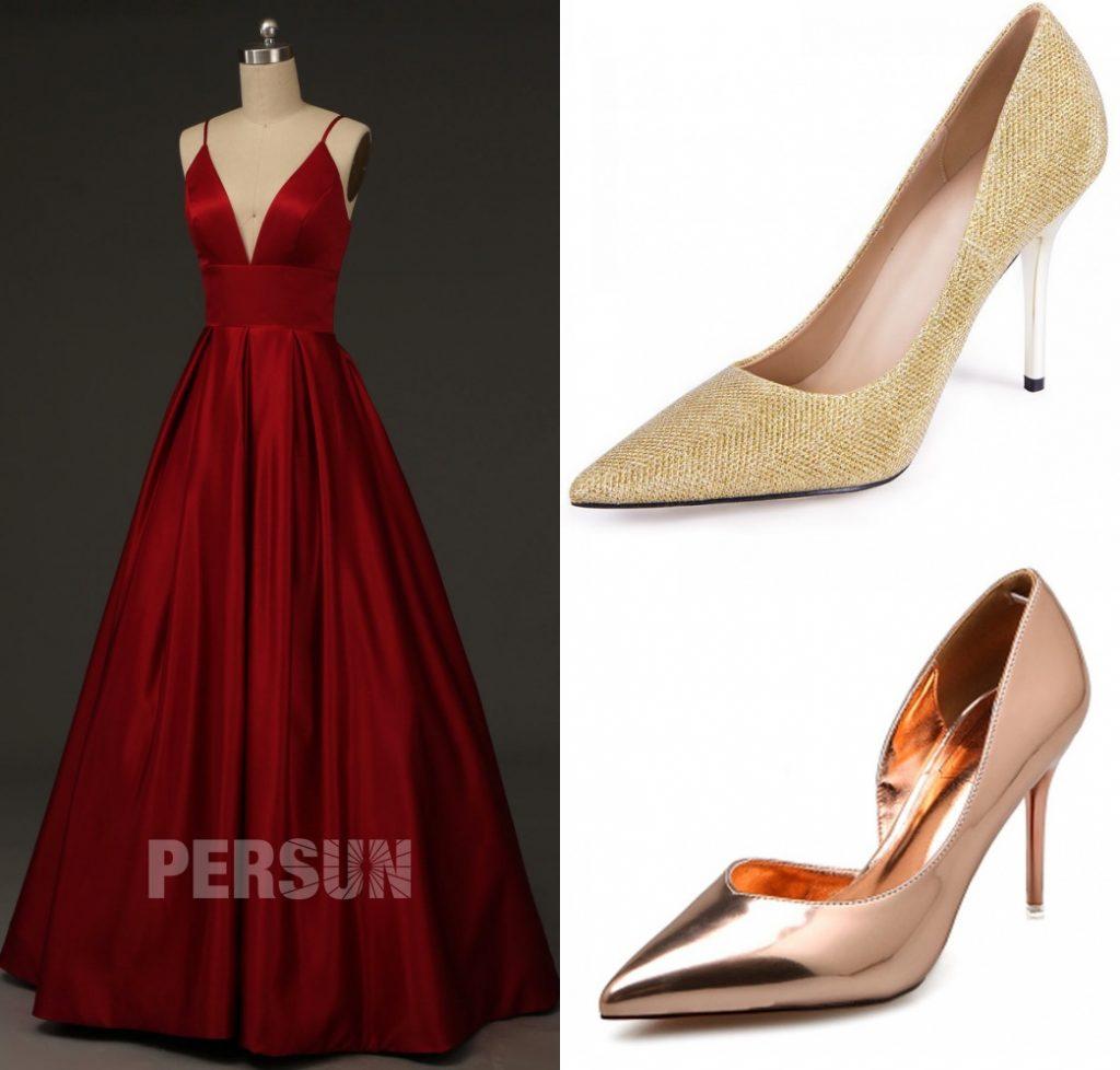 robe de soirée bordeaux princesse longue encolure en v à bretelle fine