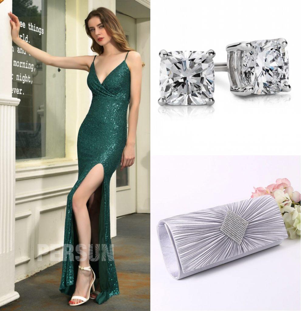 robe de soirée vert pin fendue encolure v pailleté bretelle spaghetti