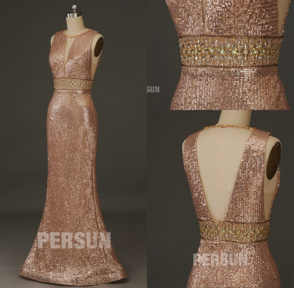 robe de soirée longue sirène en paillettes bustier découpe dos nu taille ornée de strass