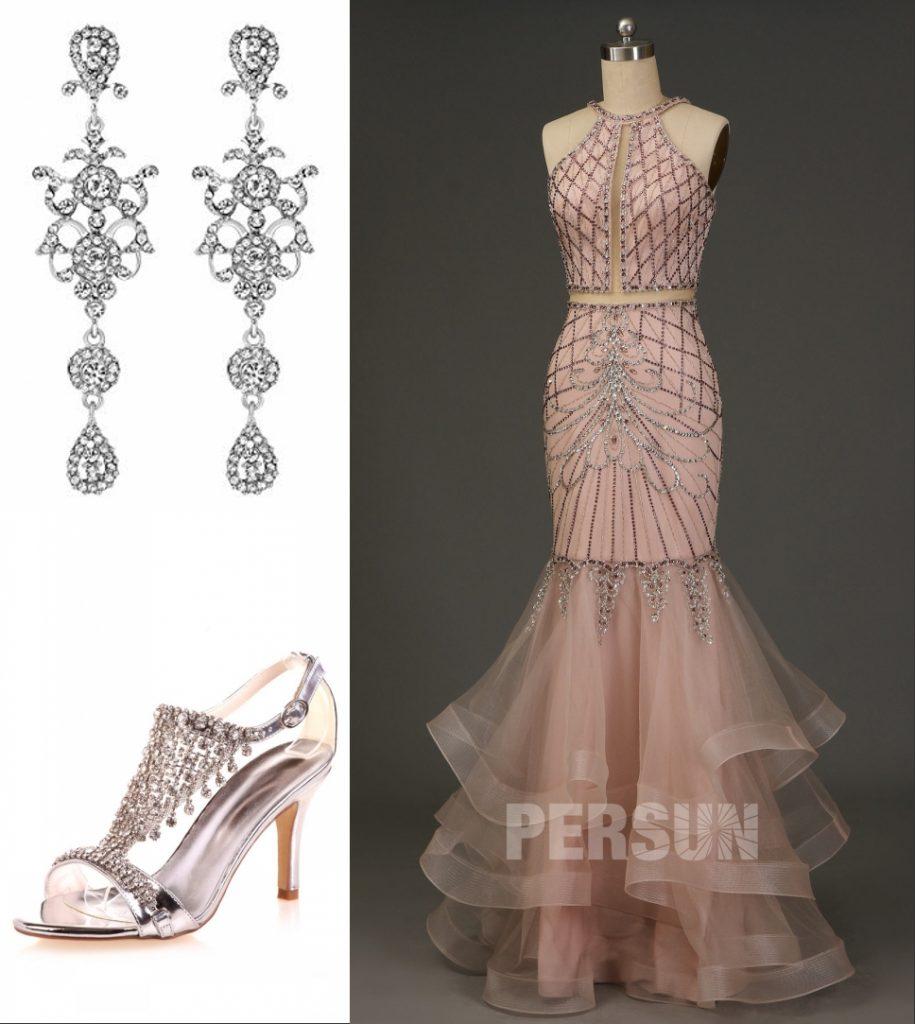 robe de soirée rose sexy sirène embelli de strass effet 2 pièce et jupe à volant