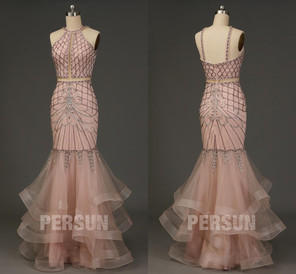 robe de soirée sirène rose pâle sexy brodée de bijoux exquis jupe à volant