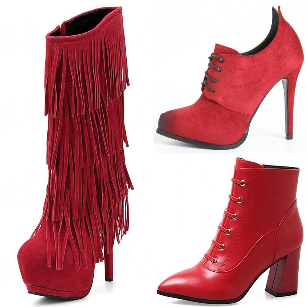 bottine chic rouge moderne pour femme