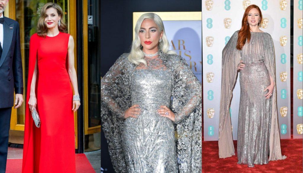 célébrité en robe de soirée avec manche cape