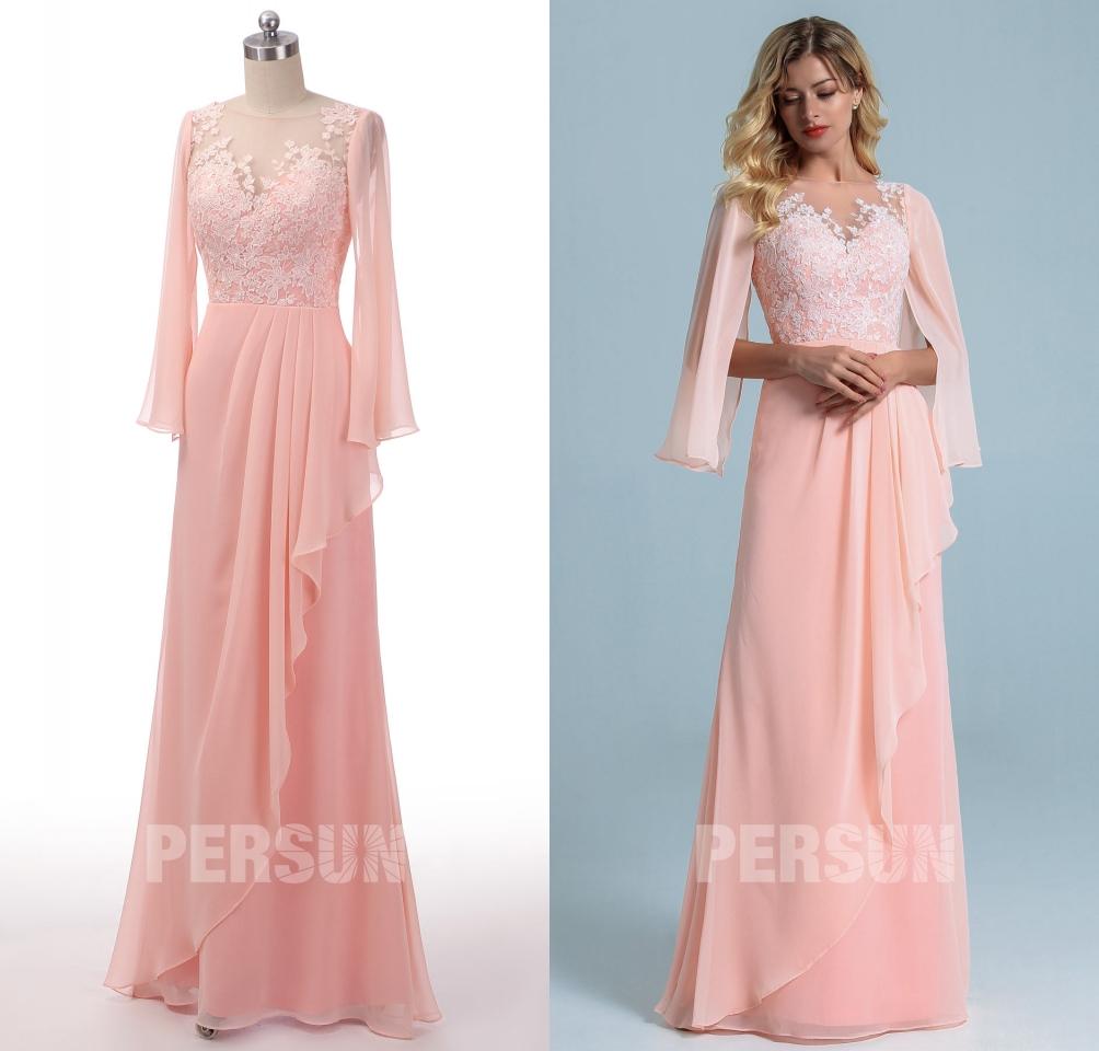 robe de soirée rose perle longue col illusion appliquée de dentelle florale avec manche cape