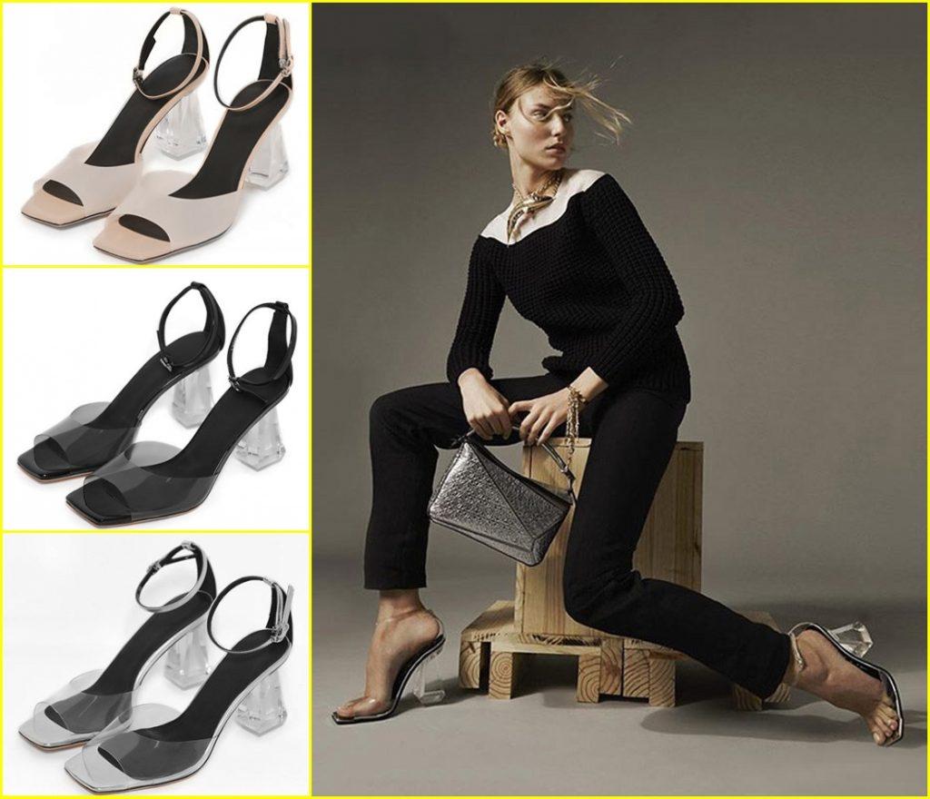sandale moderne transparent à talon carré moyen