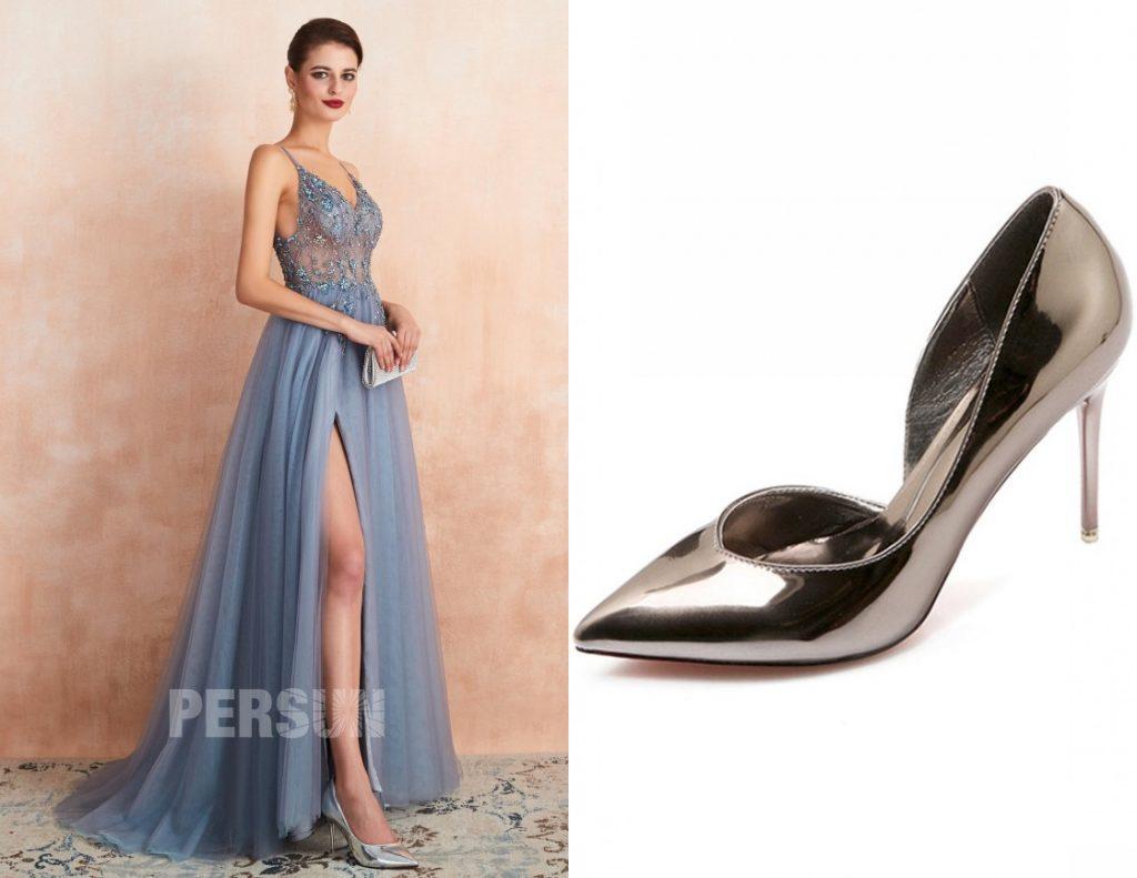 robe de soirée fendue longue bleu parme bustier orné de bijoux à bretelle Spaghetti