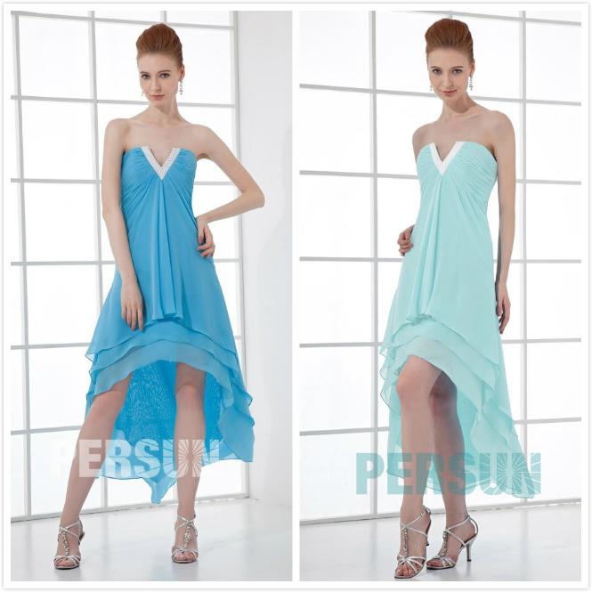 robe bascule cocktail bleu col v sans bretelles