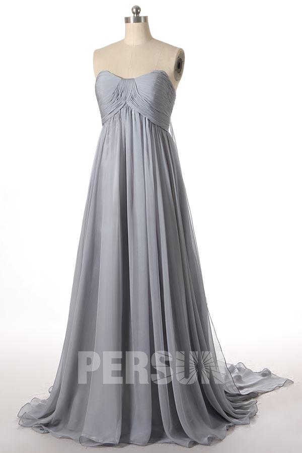 robe de cérémonie argenté empire bustier coeur drapé à traîne
