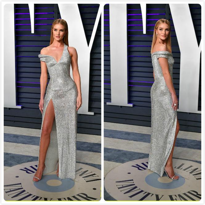 robe de soirée argentée droite bretelle asymétrique fendue en sequins