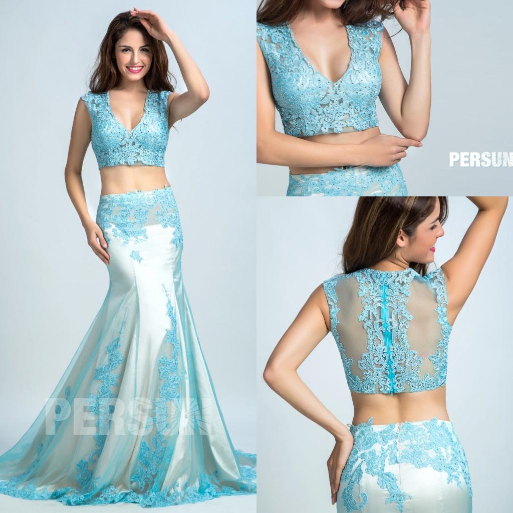 robe de soirée 2020 deux pièces sirène sexy en tulle