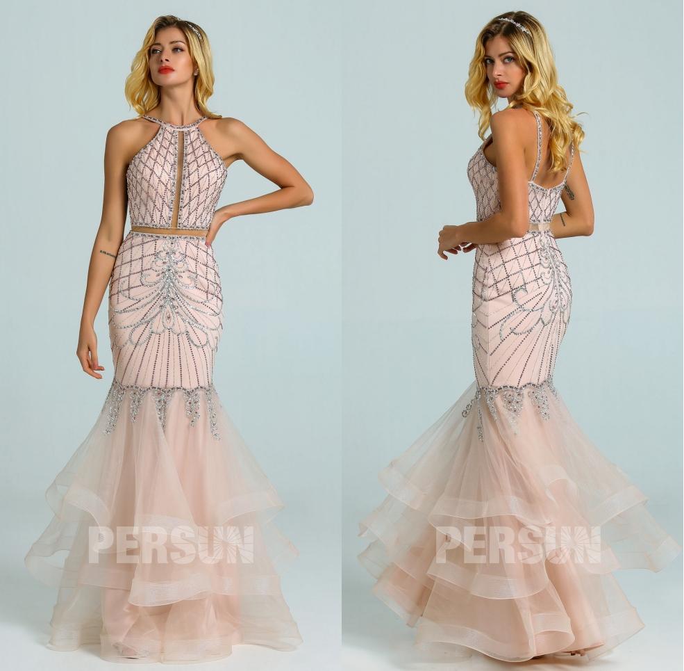 robe de soirée rose pâle 2020 vintage sirène col halter jupe froufrou