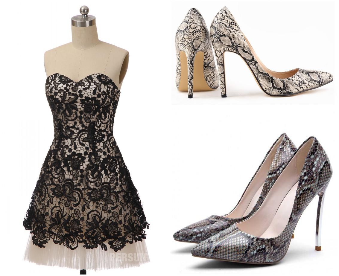 escarpins motifs reptiliens pour robe soirée noire courte