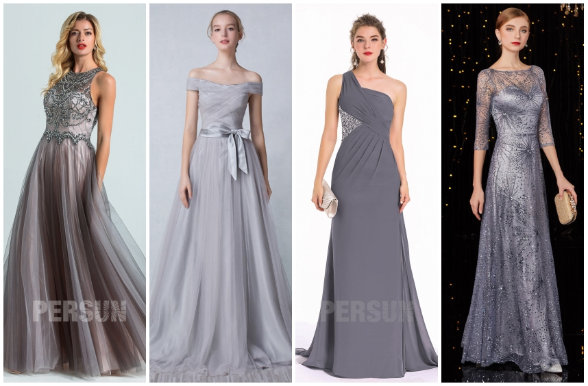 robe soirée longue grise 2020