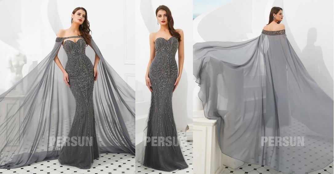 robe soirée grise sirène bustier coeur avec cape ornée de bijoux