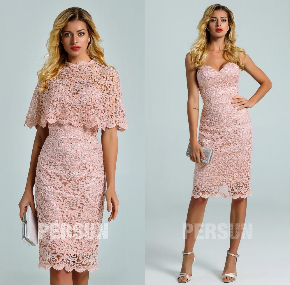 robe soirée courte fourreau guipure vieux rose bustier coeur avec cape détachable