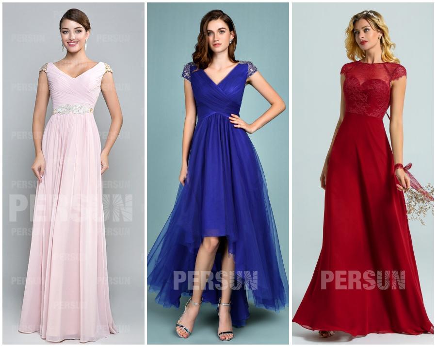 robe soirée colorée col v à mancherons