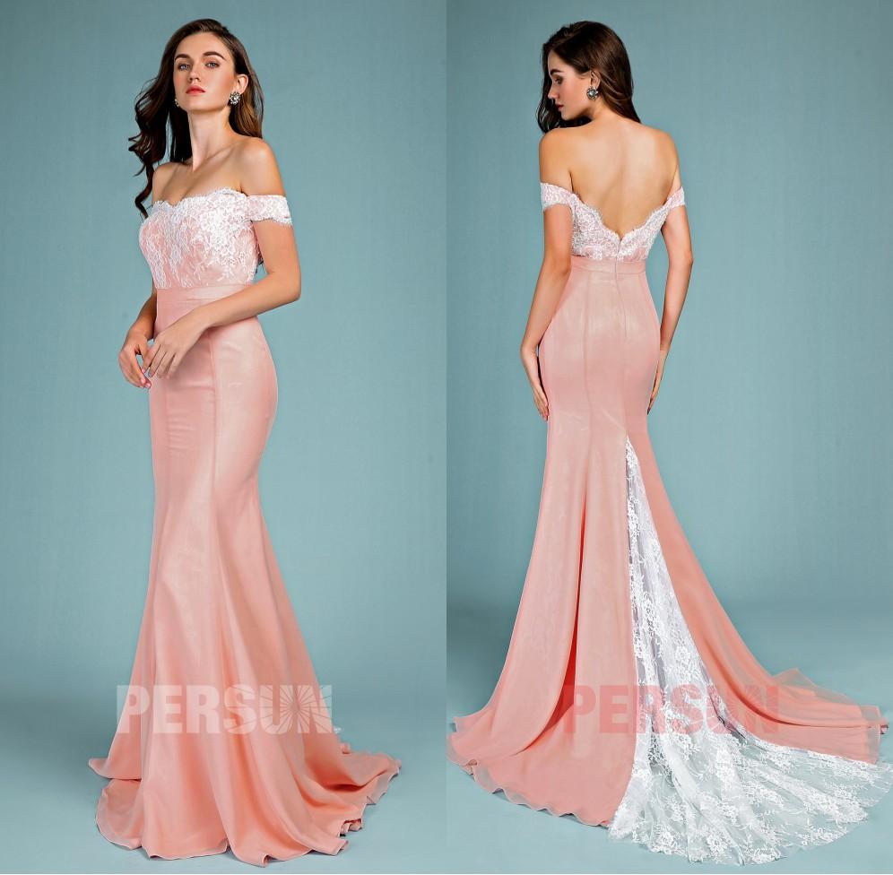 robe soirée rose saumon sirène col bardot haut dentelle