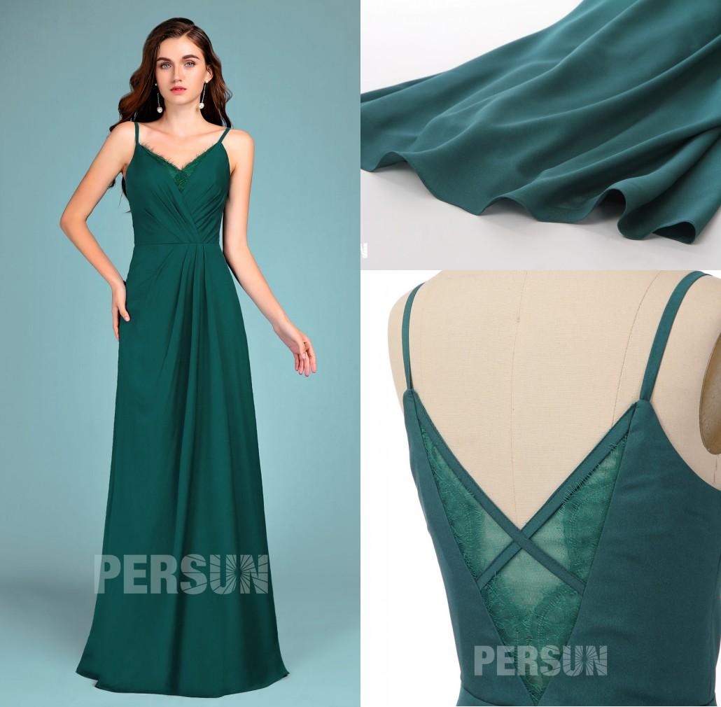 robe de soirée vert foncé longue col V avec empiècement dentelle