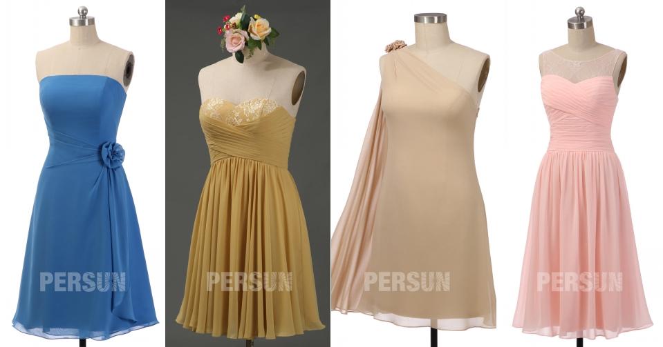 robe demoiselle d'honneur courte en mousseline bustier bleu doré champagne rose